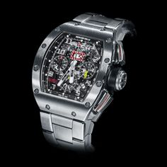 See the Richard Mille RM 011 Titanium Strap watch Fancy Watches, Elegant Watches, Luxury Watches For Men, Cool Watches, Richard Mille, Hand Watch, Watch 2, Tourbillon Watch, Skeleton Watches