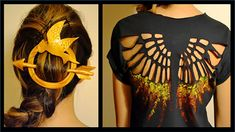 DIY Hunger Games Shirt & Hair Pin- Mockingjay- Youtube: Mey Lynn