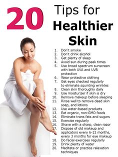 20 tips for healthier skin. #health #fitness #exercise #tips #yoga #beauty #weight #fit #skin