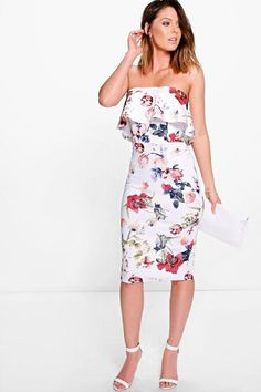 da335f0a4d boohoo Bronty Floral Frill Bandeau Midi Dress Boohoo Midi Dress