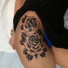 Gorgeous thigh tattoo by Pat Whiting