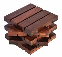 Hashcart Coasters In Sheesham Wood Indian Rosewood For Serving (Set Of 5)    4X4