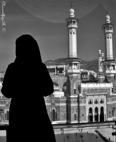 A Hijabi overlooking the Sacred Mosque in Makkah..