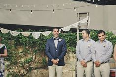 stripes and navy blue groom and groomsmen style