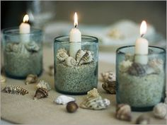 shell and sand candles