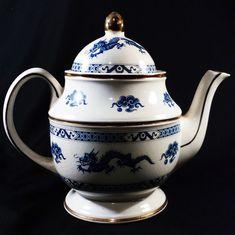Vintage Price Kensington Blue Dragon Teapot - Blue on White w/ Gold Bands - English China Tea Pot - Porcelain Teapot w/ Dragons & Clouds Pattern