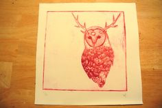 Owl Totem  Drypoint Intaglio Print OOAK  by UnnaturalNature