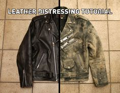 Post-Apocalyptic Jacket Tutorial / leather distressing tutorial