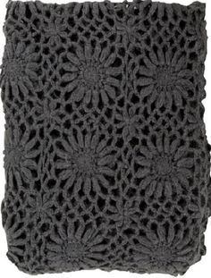 Grey Fleur Crochet Throw Blanket