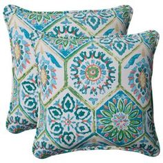 """Set of two medallion-print indoor/outdoor pillows with recycled fills. Made in the USA.        Product: Set of 2 pillowsConstruction Material: Polyester fabric cover and recycled virgin polyester fiber fillColor: Blue turquoise, coral and whiteFeatures:   UV ray, mold, mildew, stain and moisture resistantFor indoor and outdoor useMade in the USAInsert included Dimensions: 18.5"""" x 18.5"""" eachCleaning and Care: Spot clean or hand wash fabric with mild detergent"""