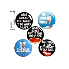 Work Button 5 Pack of Backpack Pins Buttons Badges Lapel Pins Funny Work Sarcastic Humor Gift Set 1 Funny Work Jokes, Work Humor, Cat Jokes, Weird Gifts, Funny Gifts, Funny Buttons, Button Badge, Sarcastic Humor, Funny Quotes