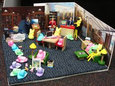 """Cheshire Library's entry in the local Peeps contest - a Peep library complete with Self """"Chick""""-Out machines and PEEP storytime featuring """"Little Bo PEEP."""" Shhhh...you're in the library -- don't make a PEEP!"""