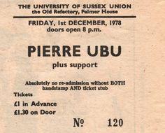 Misspelled Pere Ubu ticket, 1978.