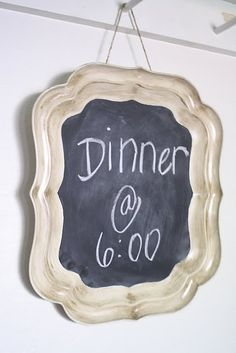 Chalkboard tray for menu of the day? (I'm thinking you could also put it on a table with for example different dip sauces on and write down what's what next to the bowls.)