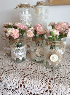 SHABBY CHIC/RUSTIC WEDDING DECORATED GLASS JAR FLOWER TEA LIGHT HOLDERS 10