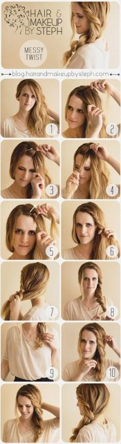 27 Tips And Tricks To Get The Perfect Ponytail Not sure my hair would hold a twist, but worth a try. Pretty Hairstyles, Cute Hairstyles, Easy Hairstyle, Hairstyle Tutorials, Hairstyle Ideas, Latest Hairstyles, Twist Hairstyles, Beach Hair Tutorials, French Hairstyles
