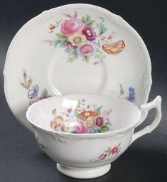 Footed Cup & Saucer Set in Old Coalport (No Trim) by Coalport
