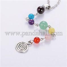 Seven Chakra Natural Gemstone Beaded Pendant NecklacesNJEW-JN00940