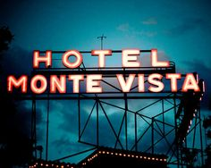 Route 66 Vintage Hotel Monte Vista Neon Sign at Night in Flagstaff Arizona - Route 66 Art