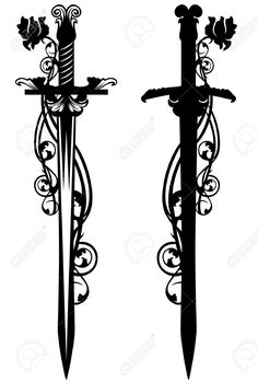 Vector - ancient sword among rose flower stems - black and white vector design Rope Tattoo, Knife Tattoo, Dagger Tattoo, Sword And Rose Tattoo, Sword Tattoos For Women, Espada Tattoo, Hand Tattoos, Tatoos, Valkyrie Tattoo