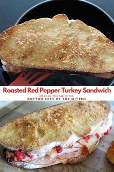 Roasted Pepper Turkey Sandwich. Turkey, red peppers, lots of cheese, and crunchy bread made right in the air fryer. #sandwich #airfryer #roastedredpepper Best Lunch Recipes, Healthy Crockpot Recipes, Easy Recipes, Breakfast Recipes, Favorite Recipes, Roast Beef Sandwiches, Turkey Sandwiches, Wrap Sandwiches, Food Type