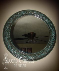 "Repurposed Thrift Store Mirror - shows how to ""antique"" with a green patina"