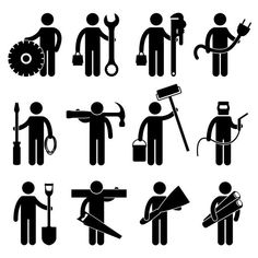 Illustration of Engineer Mechanic Plumber Electrician Wireman Carpenter Painter Welder Construction Architect Job Occupation Sign Pictogram Symbol Icon vector art, clipart and stock vectors. Body Gestures, Architect Jobs, Le Cv, Construction Worker, Vector Photo, Stick Figures, Engineering, Clip Art, Symbols