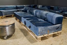 Recycled denim and pallets into furniture.