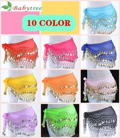 10 colors Mixed Gold Coin Belly Dance Hip Scarf Wrap Skirt Waistband Belt