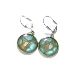 Turquoise Brown Bronze Disc Dangle Earrings by JKCJewelry on Etsy, $13.00
