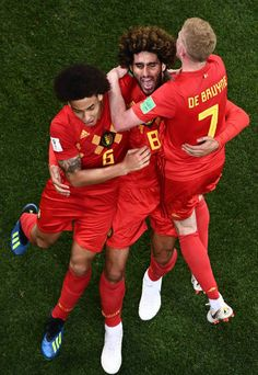 Belgium's midfielder Marouane Fellaini celebrates with Belgium's midfielder Axel Witsel and Belgium's midfielder Kevin De Bruyne after scoring his. World Cup 2018, Fifa World Cup, Chelsea Fc, Russia 2018, Manchester City, Football Players, Eden Hazard, Guys, Celebrities