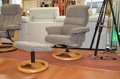 Living : Compact Swivel Recliner Chair and Footstool