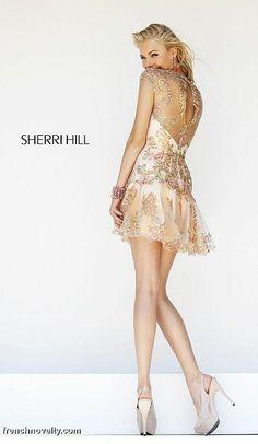 Alternate view of the Sherri Hill 9809 Cap Sleeve Sheer Short Dress image