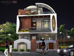 The exterior is the face of the house that everyone will see in the first part. Take a look at the world's most beautiful modern homes and find House Outside Design, House Front Design, Small House Design, Exterior Wall Design, Facade Design, Model House Plan, House Plans, Modern Villa Design, House Elevation