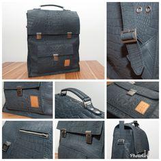 a5c559ab1d3 Zwarte leren laptop tas met krokodillen print.