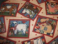 3 Yards Cotton FABRIC Traditions Bunny Cat Sheep Cows Pigs Susan Winget 1993