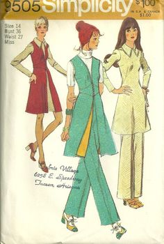 Simplicity 9505  1970s Misses Vest  Pants and Mini Dress pattern by mbchills, womens vintage sewing pattern Vintage Dress Patterns, Vintage Dresses, Vintage Outfits, Vintage Fashion, 70s Fashion, Vintage Clothing, Vintage Items, Retro Pattern, Pattern Ideas