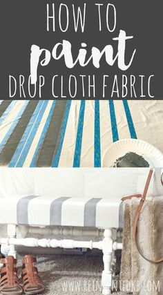 Drop cloth fabric is cheap, durable and perfectly rustic. Learn how to paint drop cloth fabric and use it for curtains, pillows and simple upholstery. via @ReinventedKB