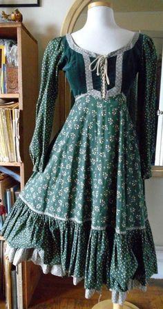 Vintage Gunne Sax Dress Corset Lacing Festival Boho Ren Faire Small | eBay