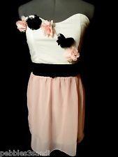 CHIFFON Roses Dress women M Pink Black White sweatheart Formal EmpireWaist Party