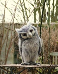 Needle felted life size White faced scops owl via Etsy Felt Owls, Felt Birds, Felt Animals, Cute Baby Animals, Owl Photos, Owl Pictures, Beautiful Owl, Animals Beautiful, Needle Felted Owl