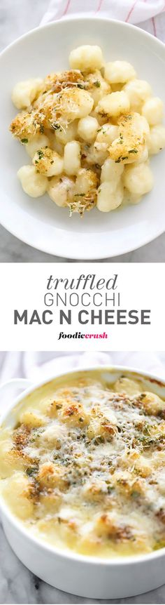 This easy dinner recipe can easily be made ahead and baked later and the crispy crunchy topper is the best part of it | foodiecrush.com Cheese Recipes, Gnocchi Mac And Cheese Recipe, Best Gnocchi Recipe, Vegetarian Gnocchi Recipes, Pasta Recipes, Recipe Pasta, Cooking Recipes, Pizzas, Truffle Mac And Cheese