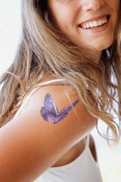 purple butterfly tattoo
