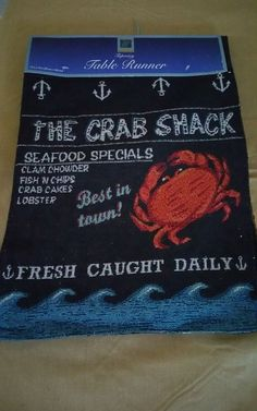 "Nautical Table Runner Crab Shack Coastal Tapestry  72"" #WindhamTrading"