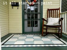 front porch makeover: complete with numbered steps and painted on porch rug