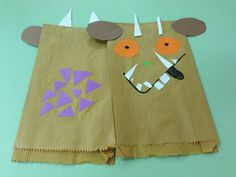 Paper bag puppet ~ The Gruffalo … Gruffalo Eyfs, Gruffalo Activities, Gruffalo Party, The Gruffalo, Monster Party, Gruffalo's Child, Paper Bag Puppets, Cycle 1, Monsters