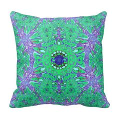 Green Purple Abstract Throw Pillow