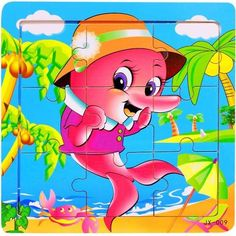 Modern Cartoon Baby Puzzle Set Toys Wooden Education Learning Toy For Kids panda Cow Frog Bee Hedgehog