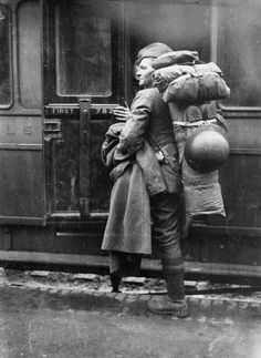 American Solider Boarding Train to the Front, England c. WWI via Imperial War Museum