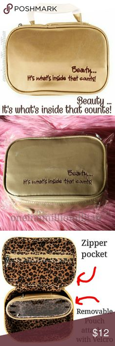 """Beauty .. It's What's Inside That Counts Bag New in Pkg/Sealed  ◇ Style: Makeup/Travel Case ◇ Color: Gold with brown writing ◇ Size: Measures 8"""" x 5 1/4"""" x 2 1/2""""  ◇ A cosmetic case with main zipper compartment + bonus bag that fits inside.  ◇ Bonus bag attaches securely with velcro. ◇ Outside of the bag reads: Beauty ... It's what's inside that counts!  Check my page for more great items & discounts. #oneinamillionjillian Makeup"""